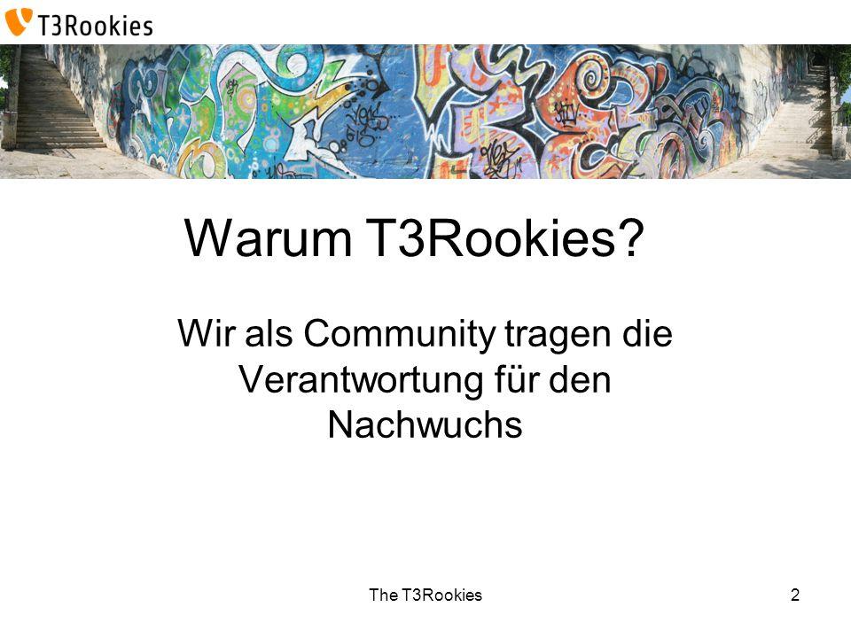 The T3Rookies Warum T3Rookies? Wir als Community tragen die Verantwortung für den Nachwuchs 2