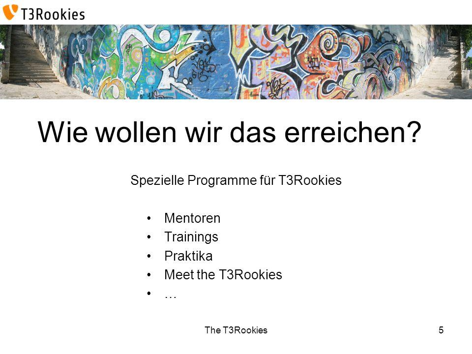 The T3Rookies Wie wollen wir das erreichen? Spezielle Programme für T3Rookies Mentoren Trainings Praktika Meet the T3Rookies … 5