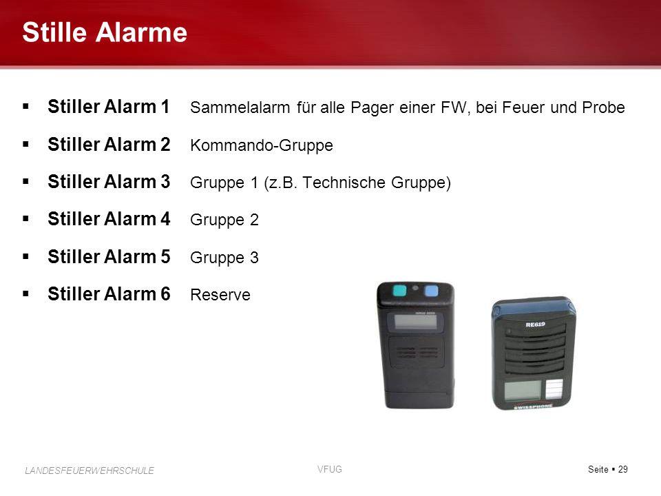 Seite  29 LANDESFEUERWEHRSCHULE VFUG Stille Alarme  Stiller Alarm 1 Sammelalarm für alle Pager einer FW, bei Feuer und Probe  Stiller Alarm 2 Komma