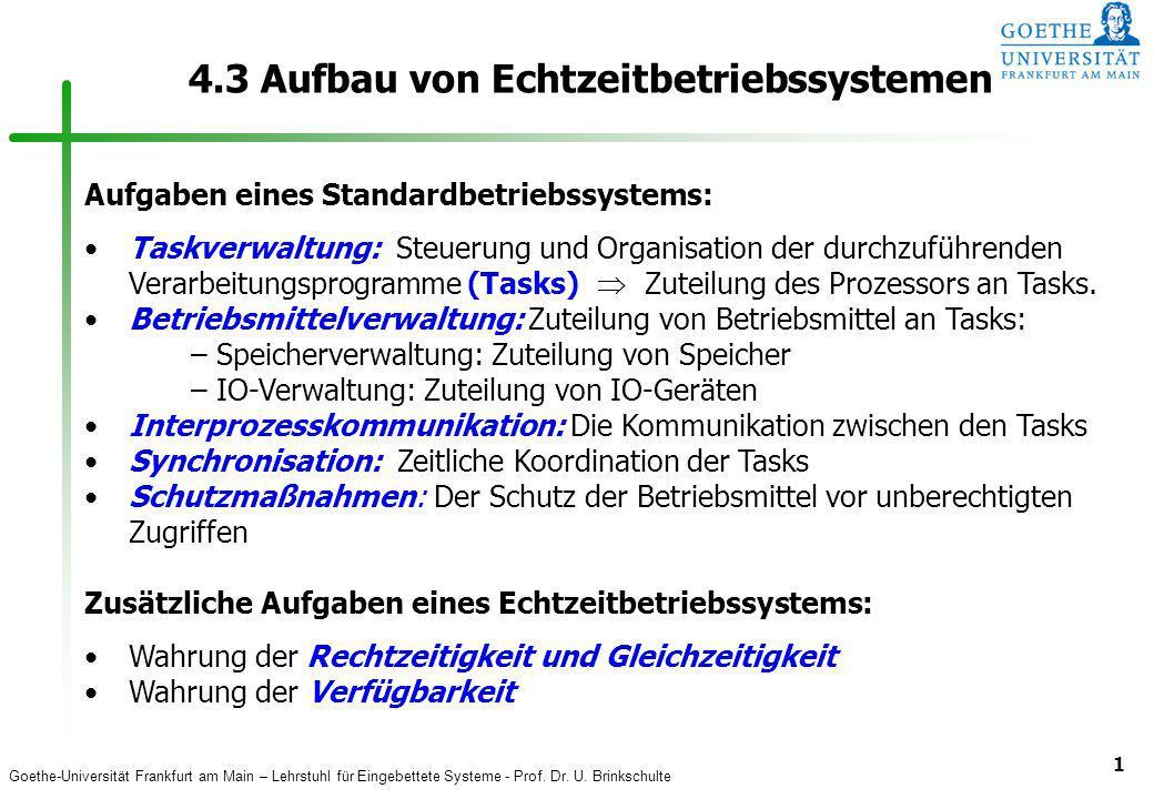 Goethe-Universität Frankfurt am Main – Lehrstuhl für Eingebettete Systeme - Prof. Dr. U. Brinkschulte 1 4.3 Aufbau von Echtzeitbetriebssystemen Aufgab