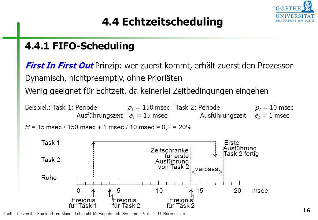 Goethe-Universität Frankfurt am Main – Lehrstuhl für Eingebettete Systeme - Prof. Dr. U. Brinkschulte 16 4.4 Echtzeitscheduling Task 2 Task 1 Ereignis