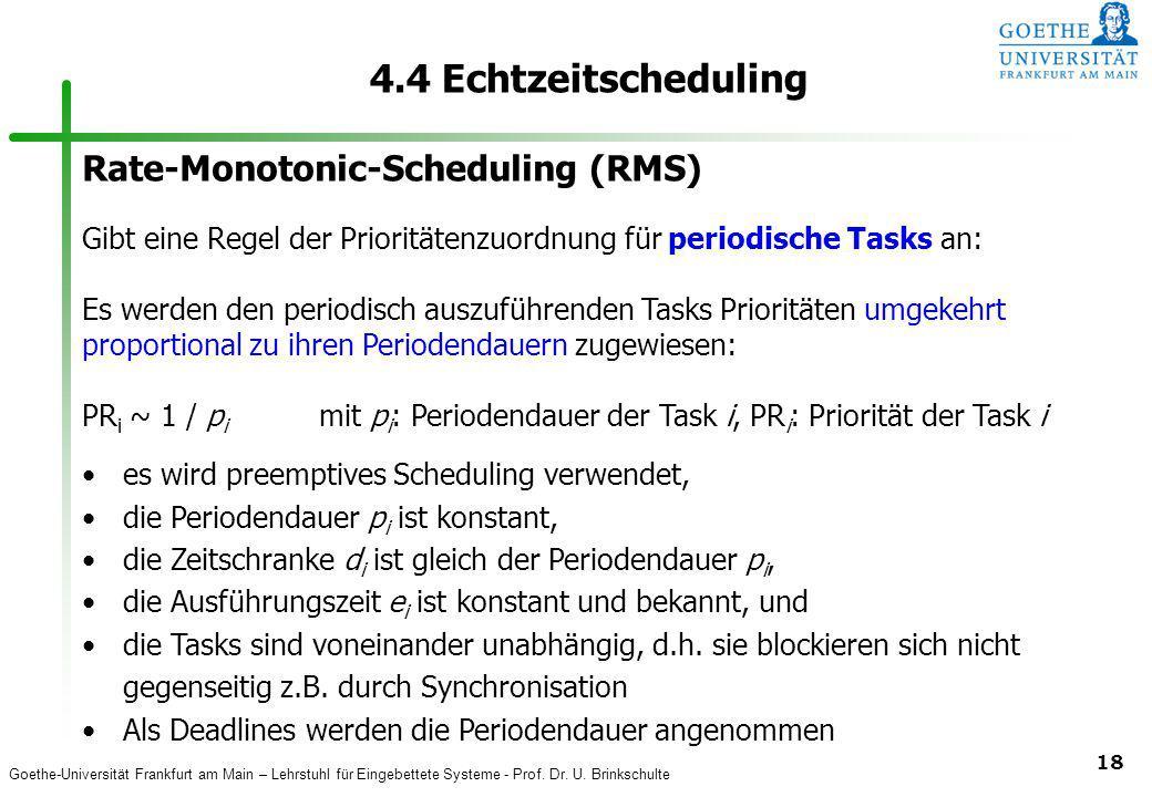 Goethe-Universität Frankfurt am Main – Lehrstuhl für Eingebettete Systeme - Prof. Dr. U. Brinkschulte 18 4.4 Echtzeitscheduling Rate-Monotonic-Schedul