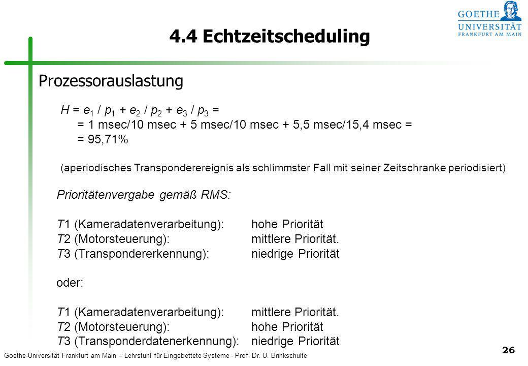 Goethe-Universität Frankfurt am Main – Lehrstuhl für Eingebettete Systeme - Prof. Dr. U. Brinkschulte 26 4.4 Echtzeitscheduling Prioritätenvergabe gem
