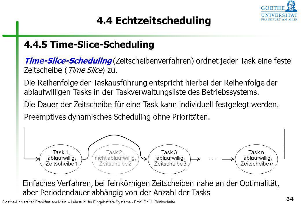 Goethe-Universität Frankfurt am Main – Lehrstuhl für Eingebettete Systeme - Prof. Dr. U. Brinkschulte 34 4.4 Echtzeitscheduling Task 1, ablaufwillig,