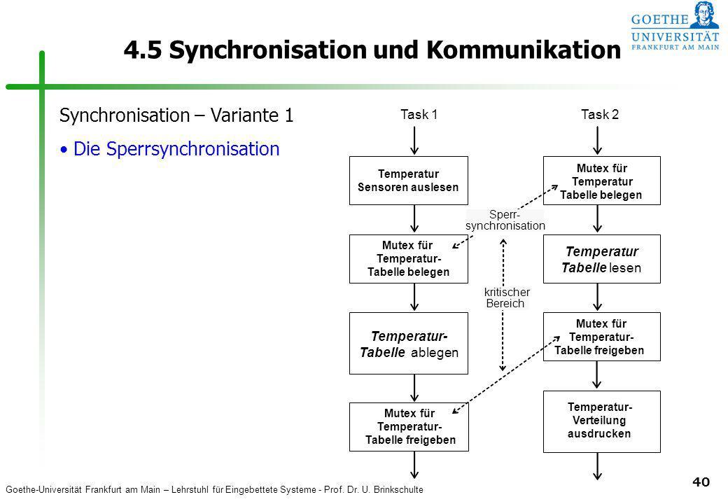Goethe-Universität Frankfurt am Main – Lehrstuhl für Eingebettete Systeme - Prof. Dr. U. Brinkschulte 40 4.5 Synchronisation und Kommunikation Synchro
