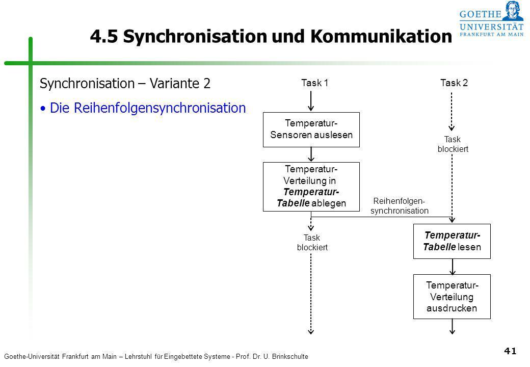 Goethe-Universität Frankfurt am Main – Lehrstuhl für Eingebettete Systeme - Prof. Dr. U. Brinkschulte 41 4.5 Synchronisation und Kommunikation Tempera