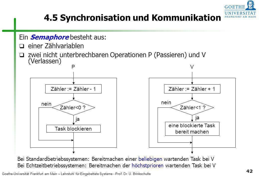 Goethe-Universität Frankfurt am Main – Lehrstuhl für Eingebettete Systeme - Prof. Dr. U. Brinkschulte 42 4.5 Synchronisation und Kommunikation Ein Sem