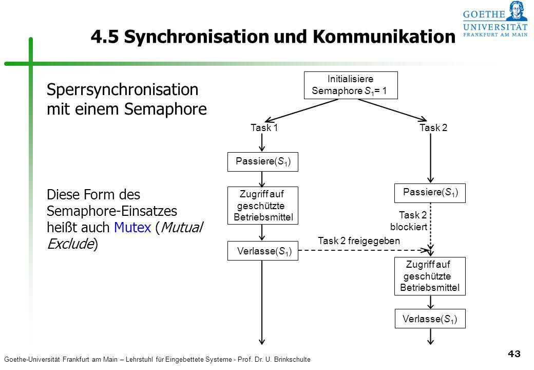 Goethe-Universität Frankfurt am Main – Lehrstuhl für Eingebettete Systeme - Prof. Dr. U. Brinkschulte 43 4.5 Synchronisation und Kommunikation Initial
