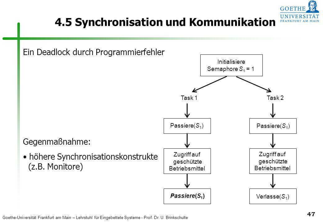 Goethe-Universität Frankfurt am Main – Lehrstuhl für Eingebettete Systeme - Prof. Dr. U. Brinkschulte 47 4.5 Synchronisation und Kommunikation Initial