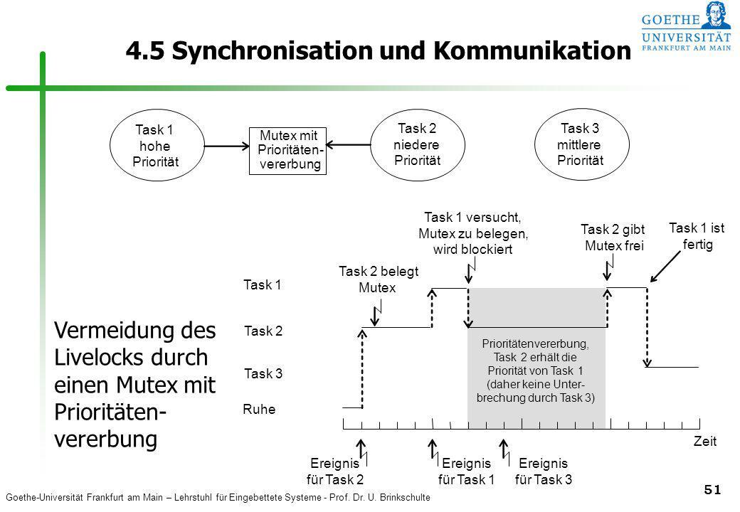 Goethe-Universität Frankfurt am Main – Lehrstuhl für Eingebettete Systeme - Prof. Dr. U. Brinkschulte 51 4.5 Synchronisation und Kommunikation Task 2