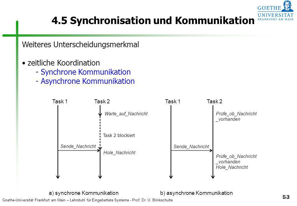 Goethe-Universität Frankfurt am Main – Lehrstuhl für Eingebettete Systeme - Prof. Dr. U. Brinkschulte 53 4.5 Synchronisation und Kommunikation Weitere