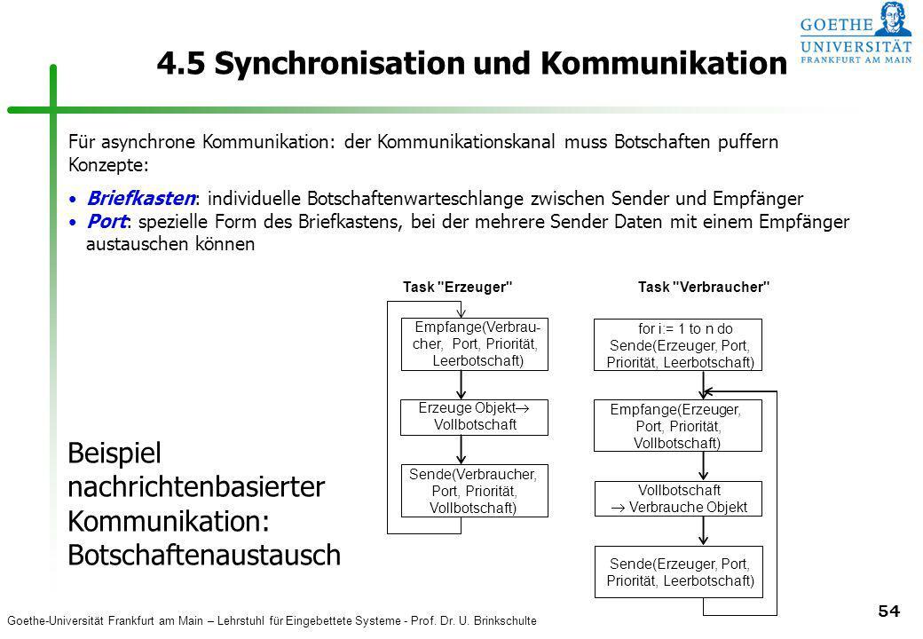 Goethe-Universität Frankfurt am Main – Lehrstuhl für Eingebettete Systeme - Prof. Dr. U. Brinkschulte 54 4.5 Synchronisation und Kommunikation Für asy