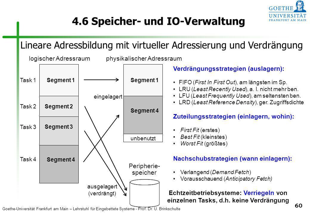 Goethe-Universität Frankfurt am Main – Lehrstuhl für Eingebettete Systeme - Prof. Dr. U. Brinkschulte 60 4.6 Speicher- und IO-Verwaltung physikalische