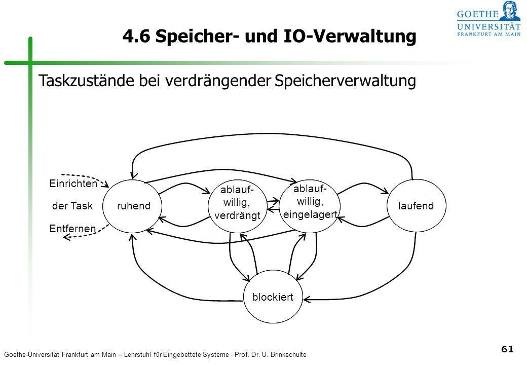 Goethe-Universität Frankfurt am Main – Lehrstuhl für Eingebettete Systeme - Prof. Dr. U. Brinkschulte 61 4.6 Speicher- und IO-Verwaltung ruhendlaufend
