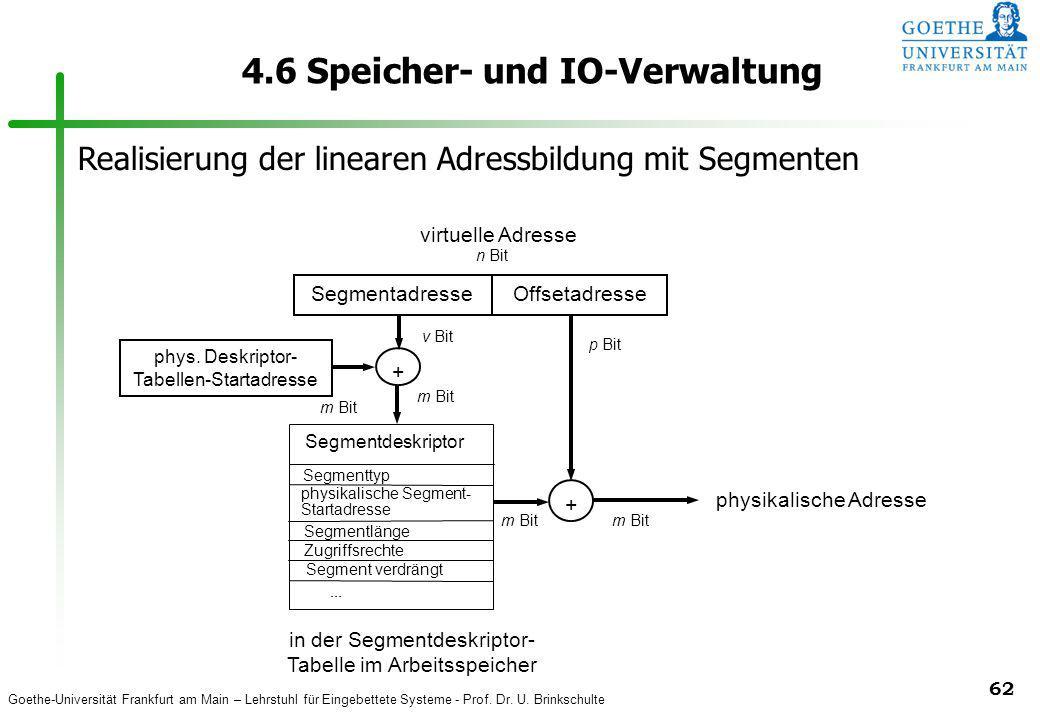 Goethe-Universität Frankfurt am Main – Lehrstuhl für Eingebettete Systeme - Prof. Dr. U. Brinkschulte 62 4.6 Speicher- und IO-Verwaltung m Bit Segment