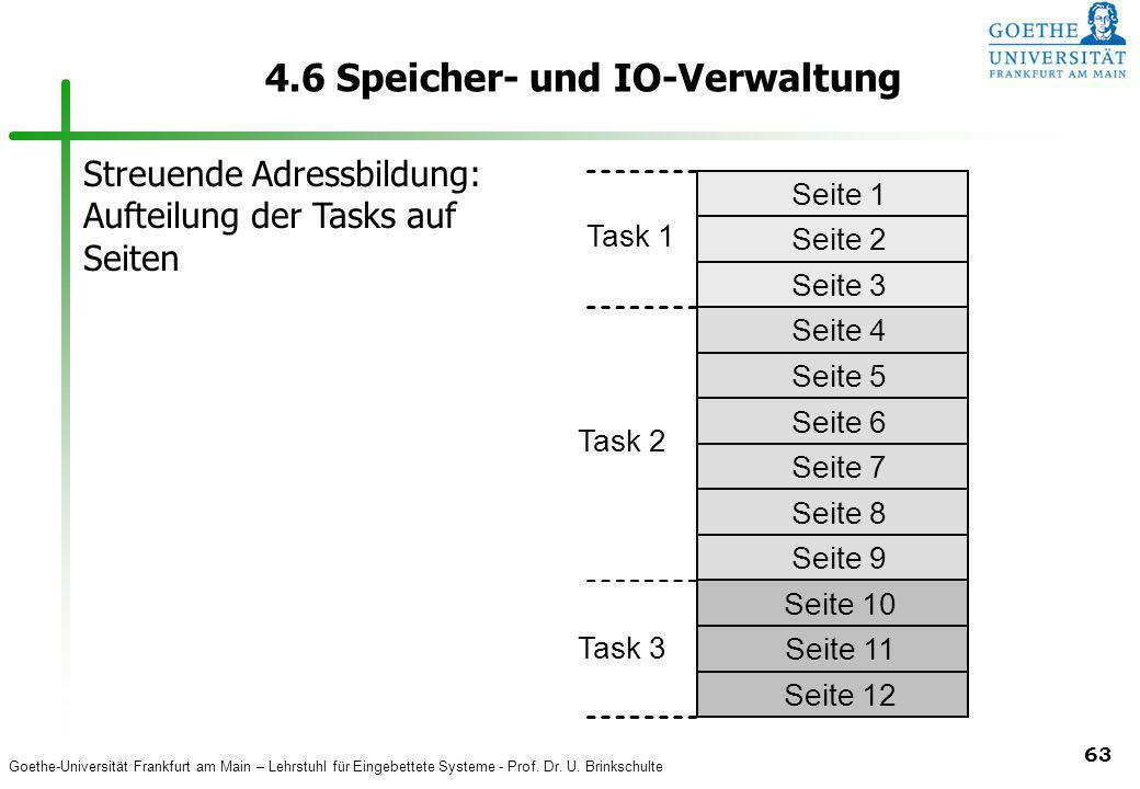 Goethe-Universität Frankfurt am Main – Lehrstuhl für Eingebettete Systeme - Prof. Dr. U. Brinkschulte 63 4.6 Speicher- und IO-Verwaltung Task 1 unbenu