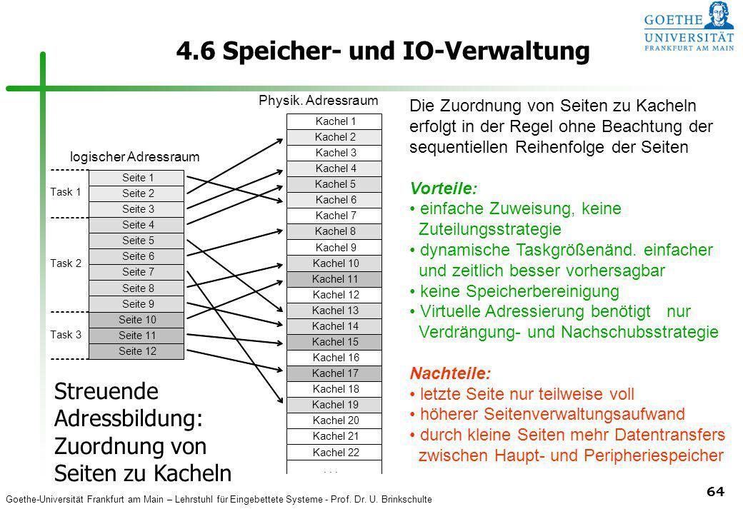 Goethe-Universität Frankfurt am Main – Lehrstuhl für Eingebettete Systeme - Prof. Dr. U. Brinkschulte 64 4.6 Speicher- und IO-Verwaltung Task 1 unbenu
