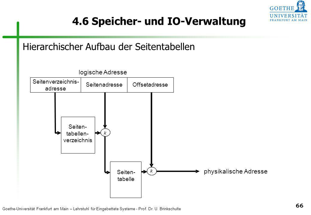Goethe-Universität Frankfurt am Main – Lehrstuhl für Eingebettete Systeme - Prof. Dr. U. Brinkschulte 66 4.6 Speicher- und IO-Verwaltung Seitenverzeic