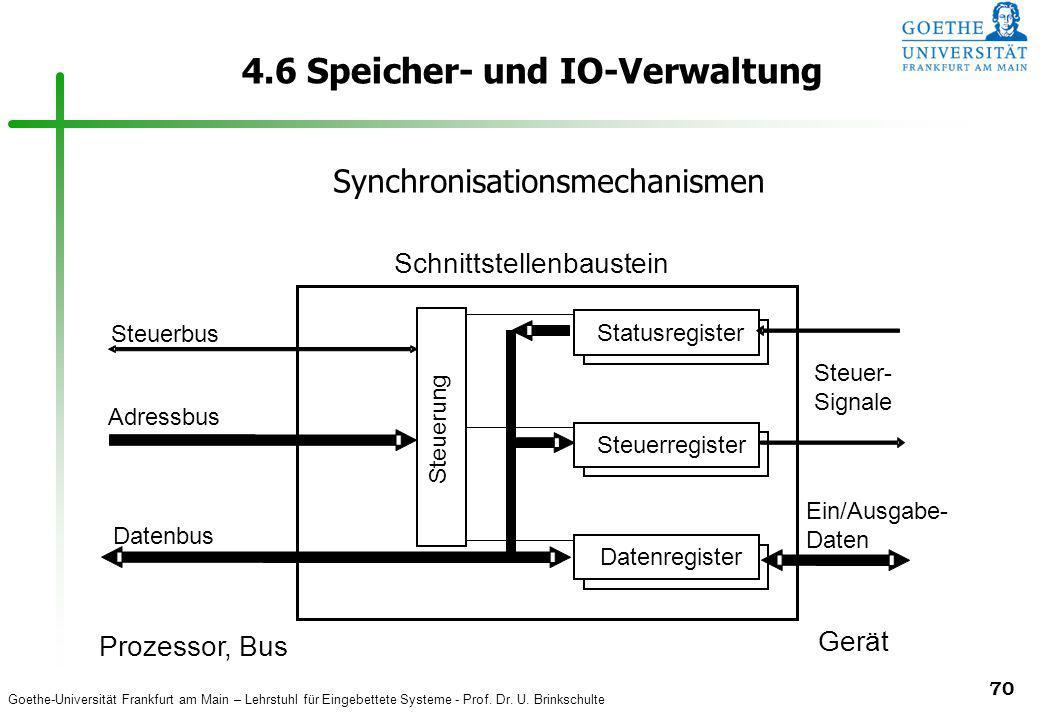 Goethe-Universität Frankfurt am Main – Lehrstuhl für Eingebettete Systeme - Prof. Dr. U. Brinkschulte 70 4.6 Speicher- und IO-Verwaltung Eingaberegist
