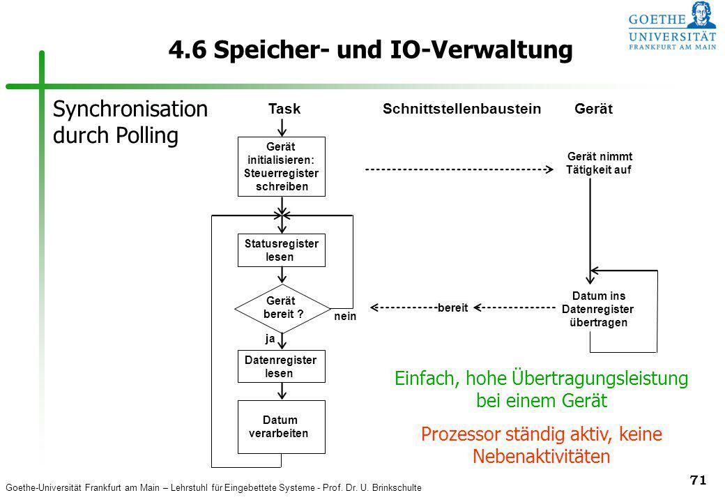 Goethe-Universität Frankfurt am Main – Lehrstuhl für Eingebettete Systeme - Prof. Dr. U. Brinkschulte 71 4.6 Speicher- und IO-Verwaltung Statusregiste