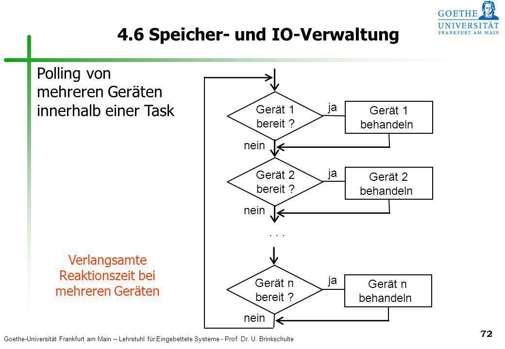 Goethe-Universität Frankfurt am Main – Lehrstuhl für Eingebettete Systeme - Prof. Dr. U. Brinkschulte 72 4.6 Speicher- und IO-Verwaltung Gerät 1 berei