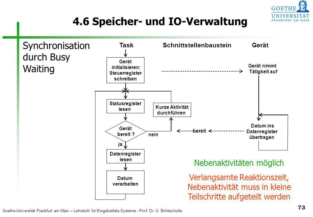 Goethe-Universität Frankfurt am Main – Lehrstuhl für Eingebettete Systeme - Prof. Dr. U. Brinkschulte 73 4.6 Speicher- und IO-Verwaltung Statusregiste