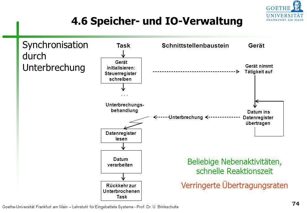 Goethe-Universität Frankfurt am Main – Lehrstuhl für Eingebettete Systeme - Prof. Dr. U. Brinkschulte 74 4.6 Speicher- und IO-Verwaltung Datenregister