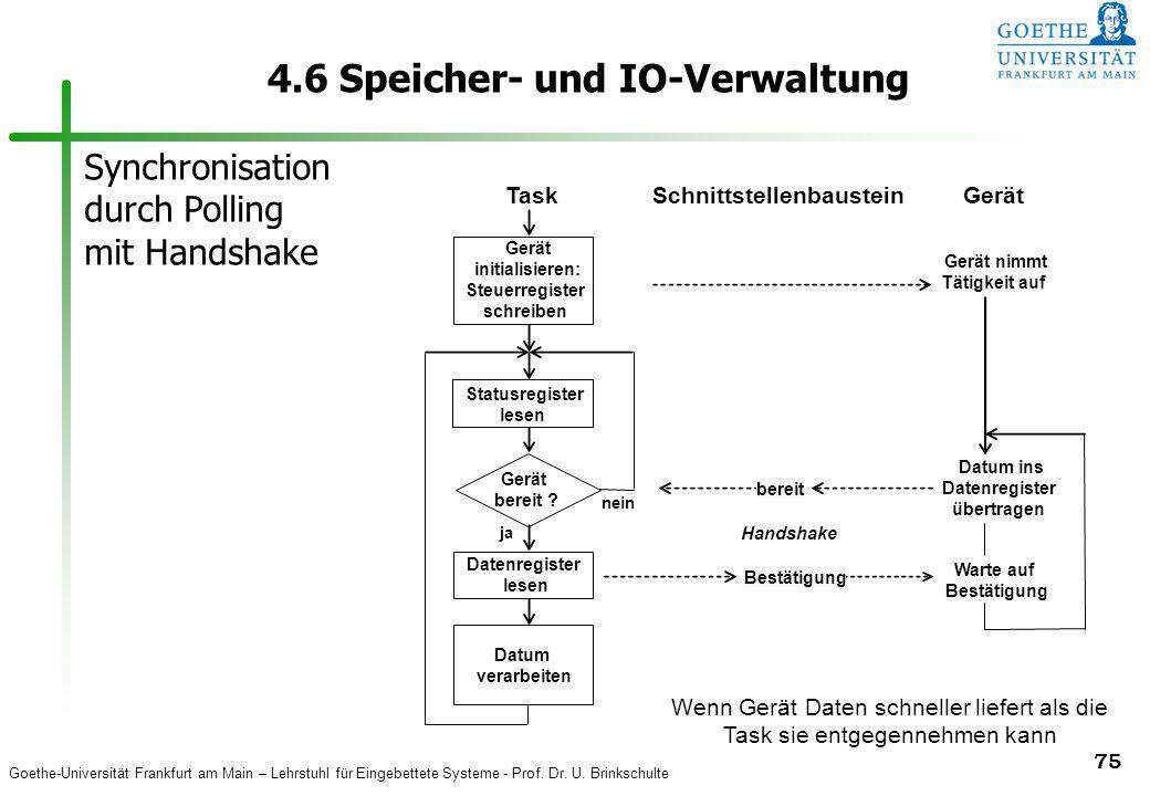 Goethe-Universität Frankfurt am Main – Lehrstuhl für Eingebettete Systeme - Prof. Dr. U. Brinkschulte 75 4.6 Speicher- und IO-Verwaltung TaskSchnittst