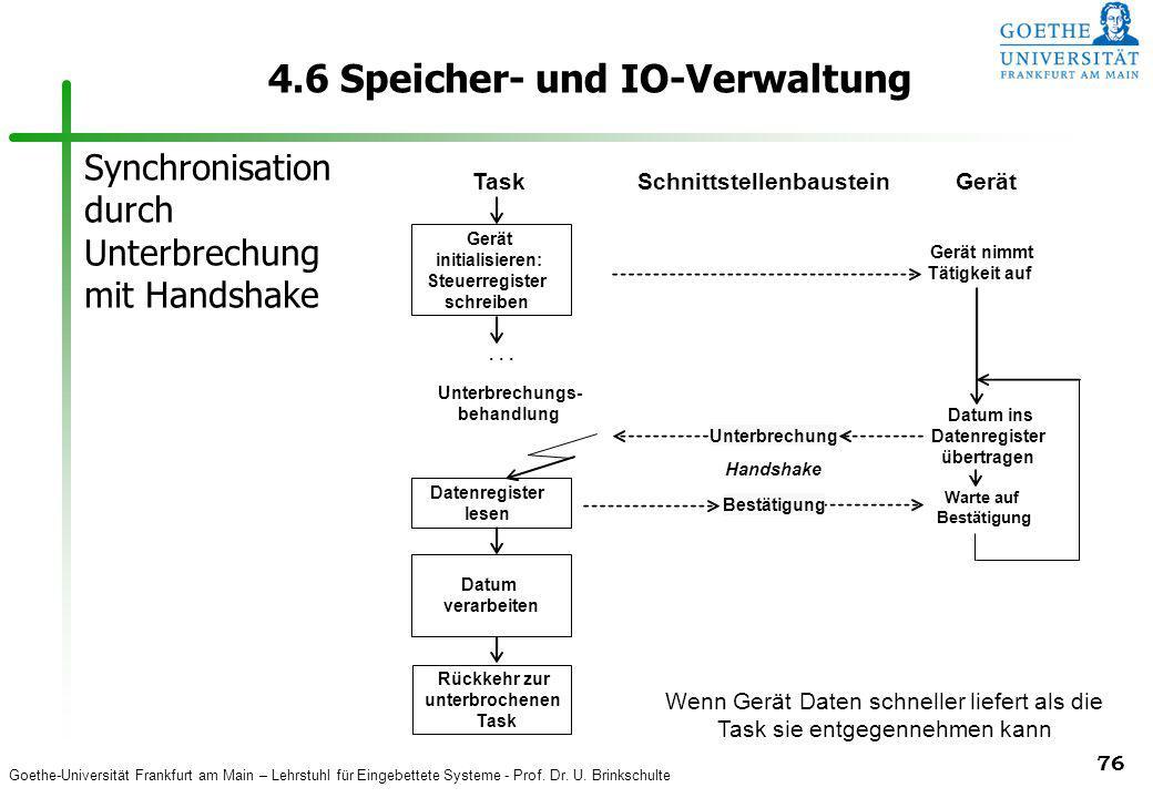Goethe-Universität Frankfurt am Main – Lehrstuhl für Eingebettete Systeme - Prof. Dr. U. Brinkschulte 76 4.6 Speicher- und IO-Verwaltung TaskSchnittst