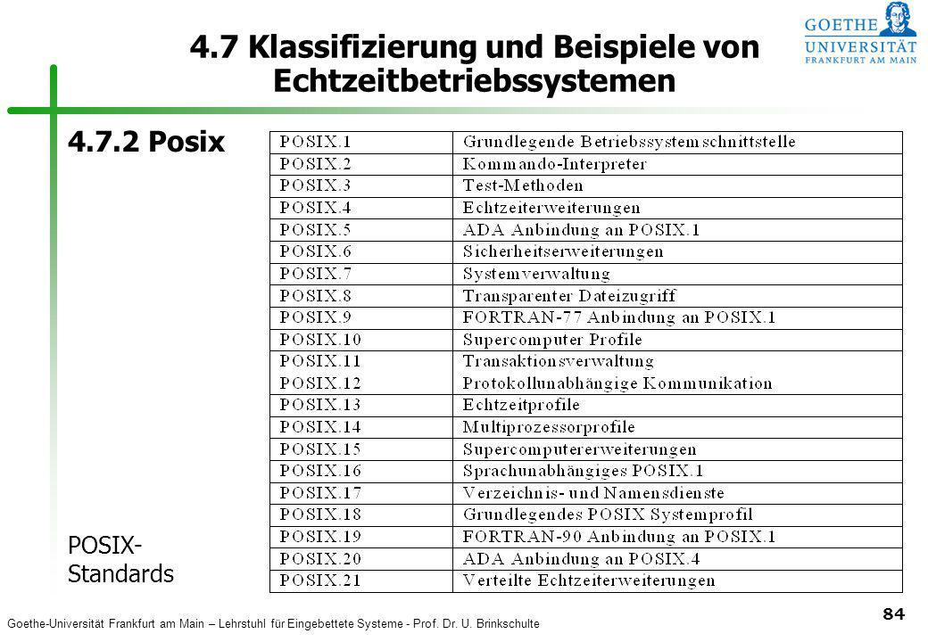 Goethe-Universität Frankfurt am Main – Lehrstuhl für Eingebettete Systeme - Prof. Dr. U. Brinkschulte 84 4.7 Klassifizierung und Beispiele von Echtzei
