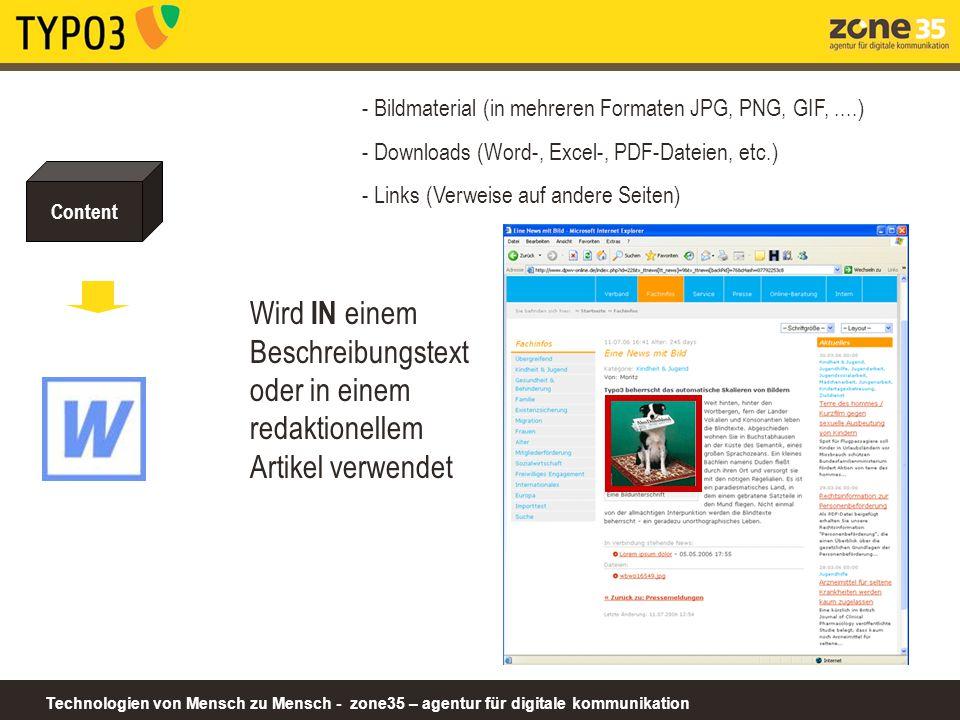 Technologien von Mensch zu Mensch - zone35 – agentur für digitale kommunikation Content - Bildmaterial (in mehreren Formaten JPG, PNG, GIF,....) - Dow