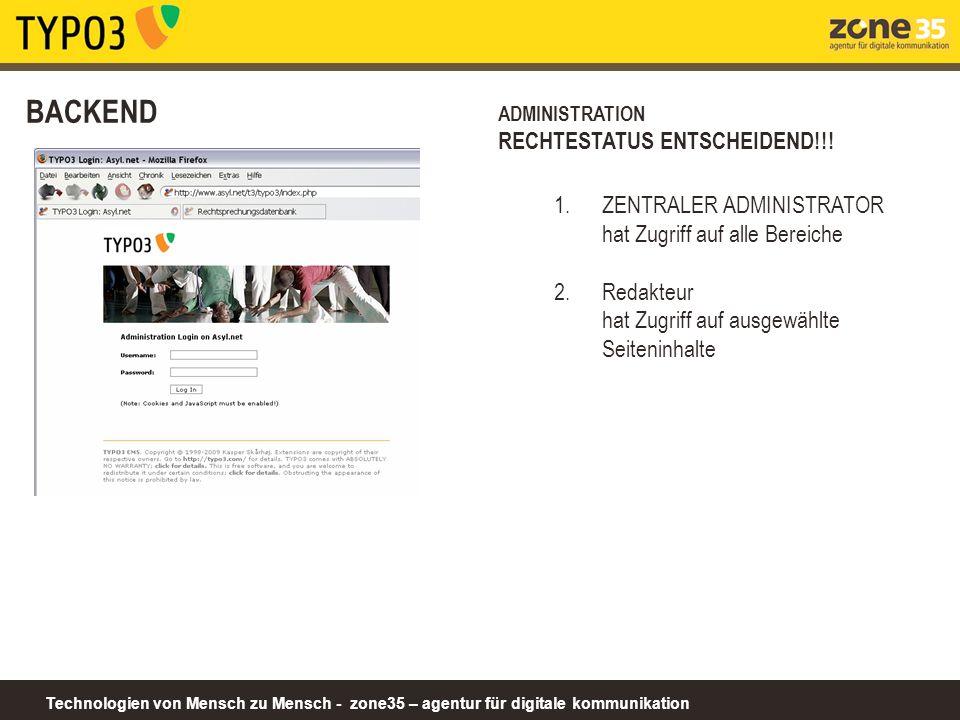 Technologien von Mensch zu Mensch - zone35 – agentur für digitale kommunikation BACKEND ADMINISTRATION RECHTESTATUS ENTSCHEIDEND!!! 1.ZENTRALER ADMINI