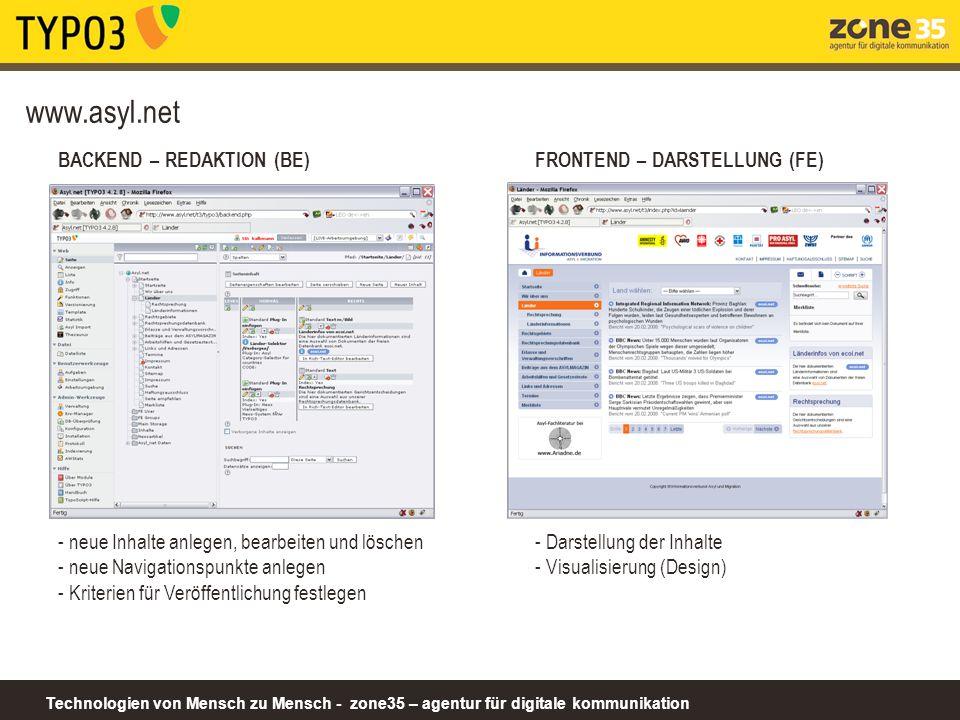 Technologien von Mensch zu Mensch - zone35 – agentur für digitale kommunikation www.asyl.net BACKEND – REDAKTION (BE) - neue Inhalte anlegen, bearbeit