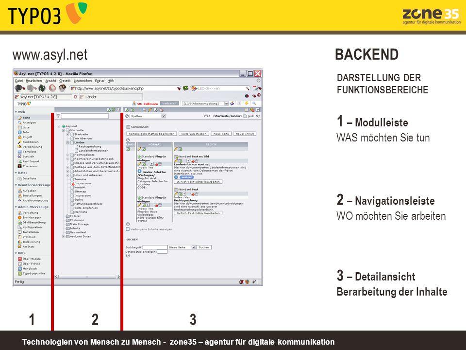Technologien von Mensch zu Mensch - zone35 – agentur für digitale kommunikation www.asyl.net BACKEND DARSTELLUNG DER FUNKTIONSBEREICHE 1 1 – Modulleis