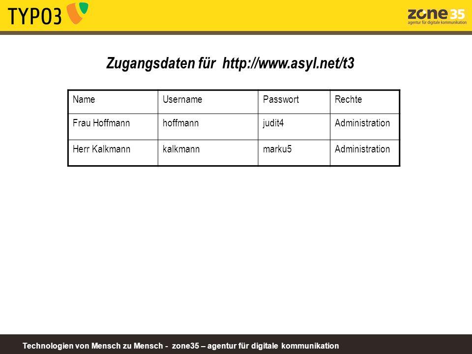 Technologien von Mensch zu Mensch - zone35 – agentur für digitale kommunikation Zugangsdaten für http://www.asyl.net/t3 NameUsernamePasswortRechte Fra