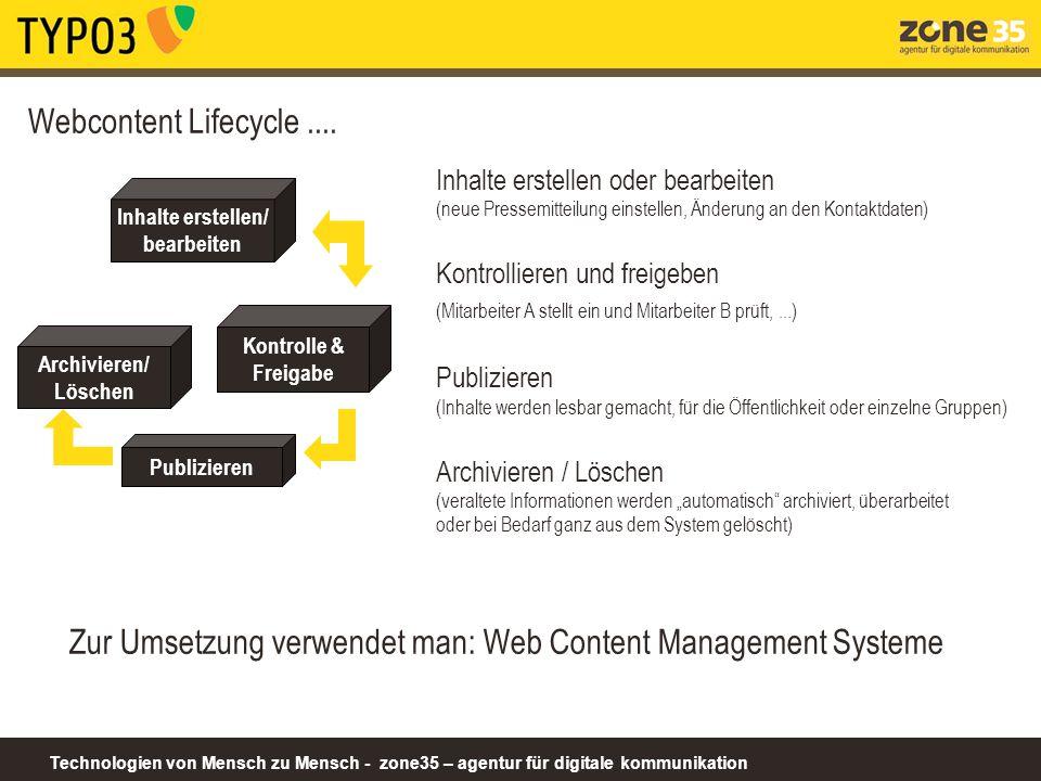 Technologien von Mensch zu Mensch - zone35 – agentur für digitale kommunikation www.asyl.net Content Dokumente Design Dargestellt über www.asyl.net Struktur Eingestellt über TYPO3