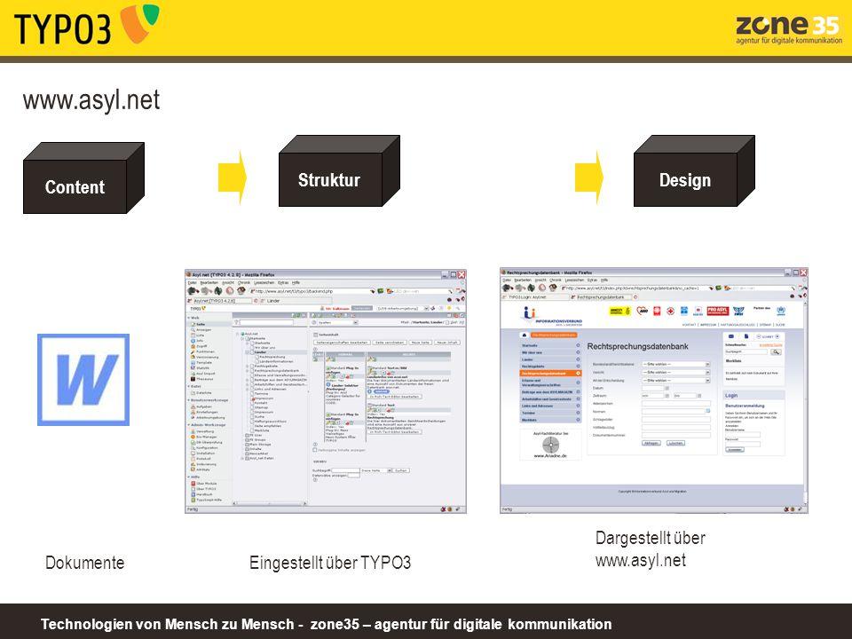 Technologien von Mensch zu Mensch - zone35 – agentur für digitale kommunikation Content www.asyl.net ein CMS (Content Management System) verwaltet CONTENT WAS IST CONTENT.