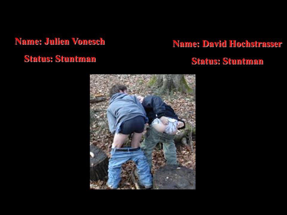 Name: Julien Vonesch Status: Stuntman Name: David Hochstrasser Status: Stuntman