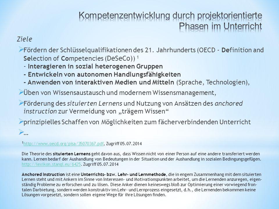 Ziele  Fördern der Schlüsselqualifikationen des 21.