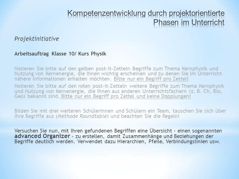 Projektinitiative Arbeitsauftrag Klasse 10/ Kurs Physik Notieren Sie bitte auf den gelben post-it-Zetteln Begriffe zum Thema Kernphysik und Nutzung von Kernenergie, die Ihnen wichtig erscheinen und zu denen Sie im Unterricht nähere Informationen erhalten möchten.