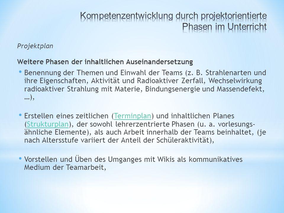 Projektplan Weitere Phasen der inhaltlichen Auseinandersetzung Benennung der Themen und Einwahl der Teams (z.