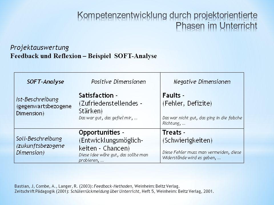 Projektauswertung Feedback und Reflexion – Beispiel SOFT-Analyse Bastian, J, Combe, A., Langer, R.