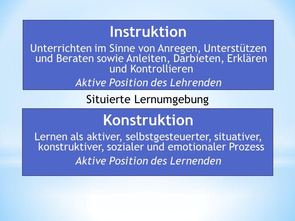 Instruktion Unterrichten im Sinne von Anregen, Unterstützen und Beraten sowie Anleiten, Darbieten, Erklären und Kontrollieren Aktive Position des Lehrenden Konstruktion Lernen als aktiver, selbstgesteuerter, situativer, konstruktiver, sozialer und emotionaler Prozess Aktive Position des Lernenden Situierte Lernumgebung
