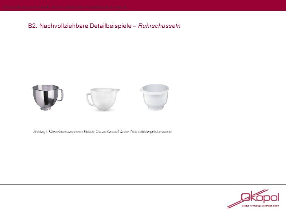 B2: Nachvollziehbare Detailbeispiele – Rührschüsseln Abbildung 1: Rührschüsseln aus poliertem Edelstahl, Glas und Kunststoff.