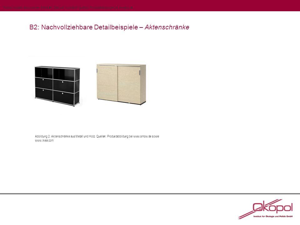 B2: Nachvollziehbare Detailbeispiele – Aktenschränke Abbildung 2: Aktenschränke aus Metall und Holz.