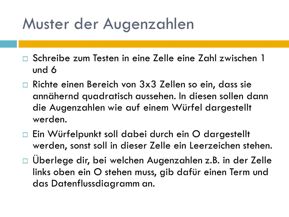 """Lösung  =WENN(ODER(B2=4;B2=5;B2=6); O ; """") Es wird dabei vorausgesetzt, dass die Zufallszahl in der Zelle B2 steht."""