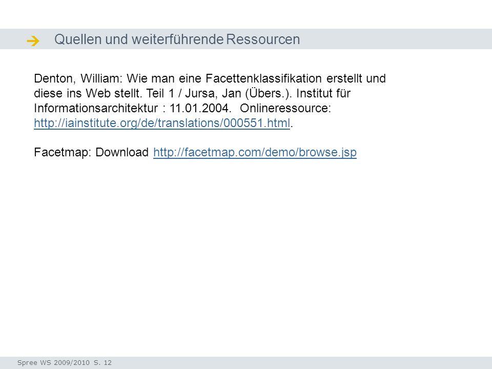 Quellen und weiterführende Ressourcen  Quellen / Ressourcen Denton, William: Wie man eine Facettenklassifikation erstellt und diese ins Web stellt.