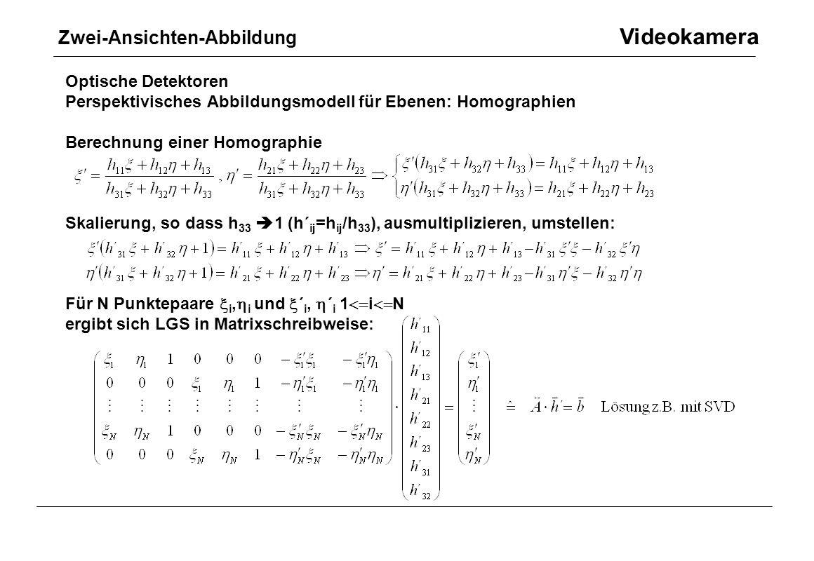 Optische Detektoren Perspektivisches Abbildungsmodell für Ebenen: Homographien Berechnung einer Homographie Skalierung, so dass h 33  1 (h´ ij =h ij