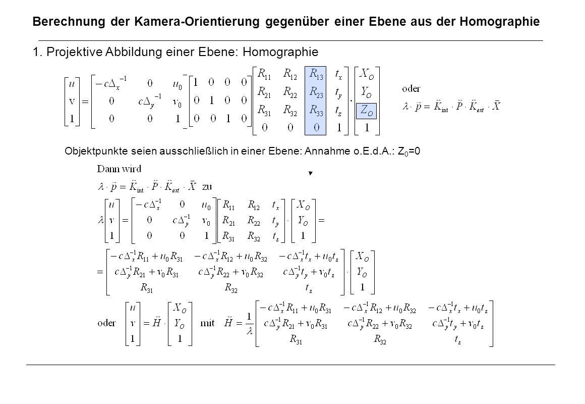 Berechnung der Kamera-Orientierung gegenüber einer Ebene aus der Homographie 1. Projektive Abbildung einer Ebene: Homographie Objektpunkte seien aussc