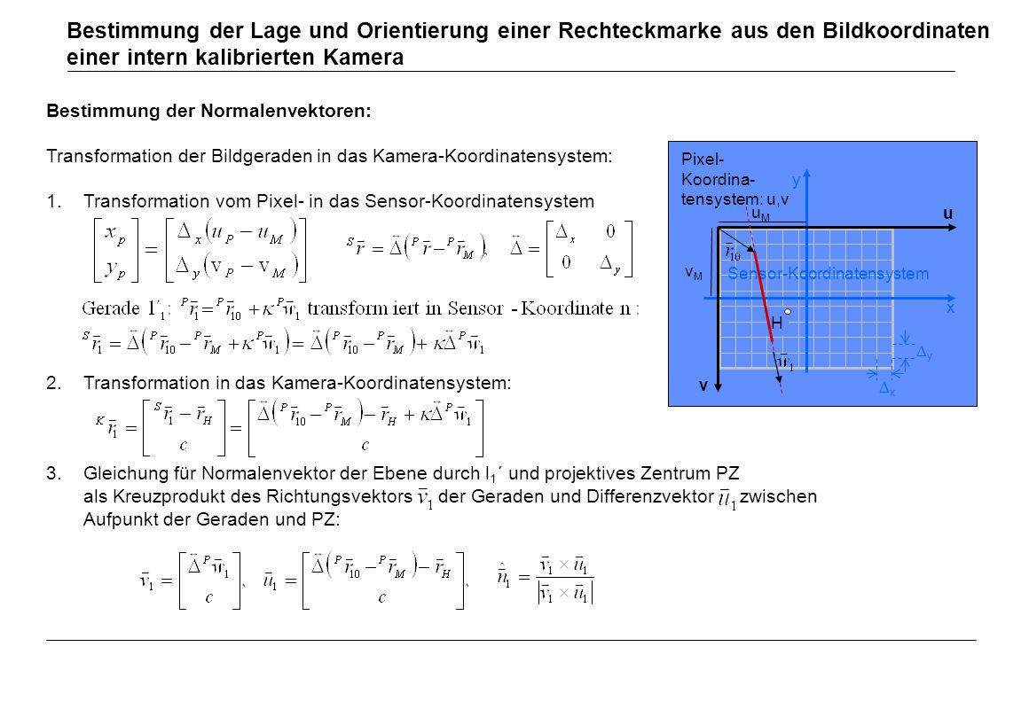 Bestimmung der Normalenvektoren: Transformation der Bildgeraden in das Kamera-Koordinatensystem: 1.Transformation vom Pixel- in das Sensor-Koordinaten